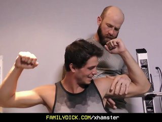 FamilyDick - Older tattooed muscle daddy coaches virgin step