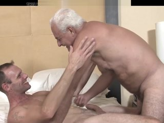 Hung Grandpa Bareback Fucks His Friend