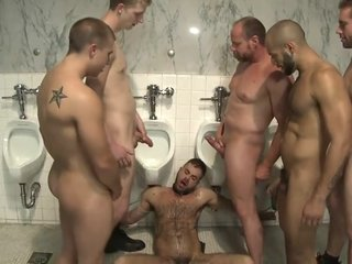 Horny cruisers cover a bathroom slut with cum and piss o t