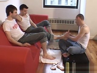 Foot fetish young men licking each others sexy feet
