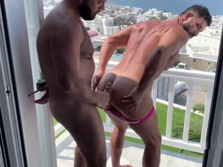 Mykanos public exposed with hairy arab