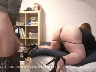 Chubby sissy in heels deepthroats before getting fucked hard